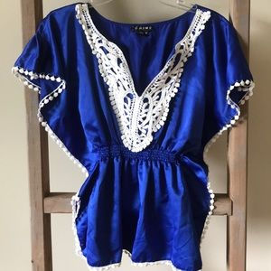 Blue blouse with white lace